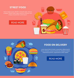 fast food 2 flat banners webpage vector image vector image