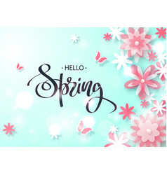 Hello spring beautiful background with paper vector