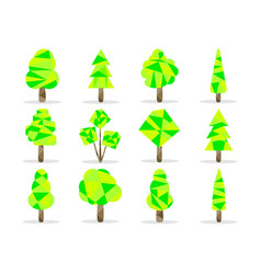 polygon trees set low poly style vector image vector image
