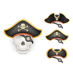 skull with pirate hats set realistic head isolated vector image
