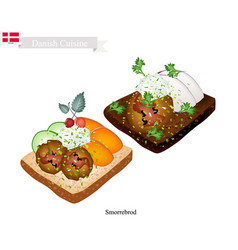 Smorrebrod with meatball the national dish of denm vector