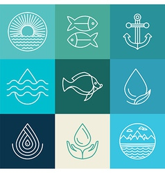Water line icons and logos vector