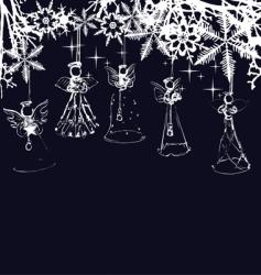 Angels christmas tree decoration vector
