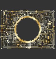 gold chipset digital background vector image vector image