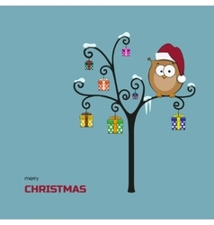 Merry christmas card Owl in a Santa Claus hat vector image