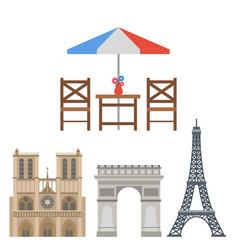 paris icons famous travel cuisine vector image vector image