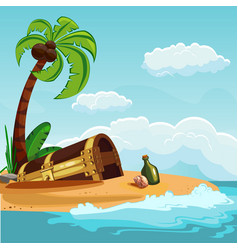 treasure chest buried on the beach vector image vector image
