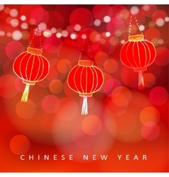 Chinese new year card with paper lanterns and vector image vector image