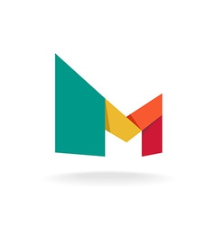 Letter M logo template Origami colorful style vector image vector image