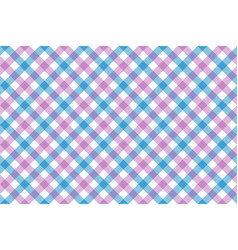 Pink blue check diagonal fabric texture vector