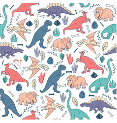seamless pattern dinosaurs background cute vector image vector image