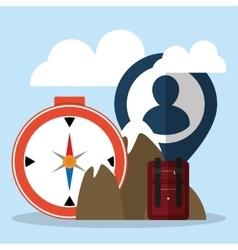Travel tourism mountain compass suitcase person vector