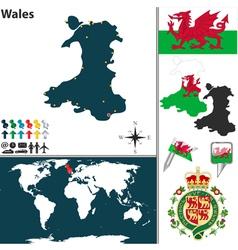 Wales map world vector image vector image