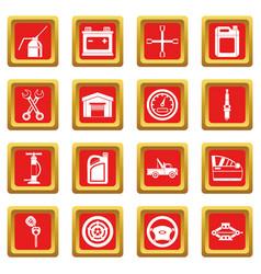 Car maintenance and repair icons set red vector