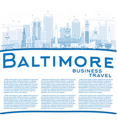 Outline baltimore skyline with blue buildings and vector