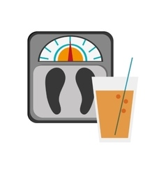weight scale and glass beverage icon vector image