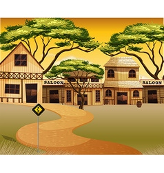 Western town with buildings and road vector image vector image
