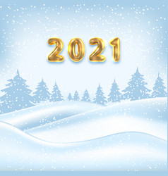 2021 new year poster winter outdoor background vector image
