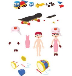 4 toys and its individual pieces vector