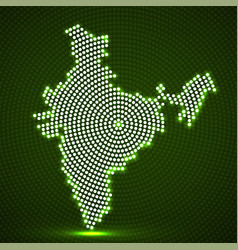 Abstract india map of glowing radial dots vector