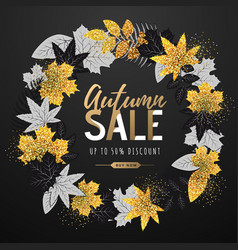 Autumn big sale poster with leaves vector