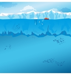 Background with long Iceberg and ship vector image