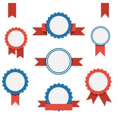 Badge labels and ribbons emblems set vector