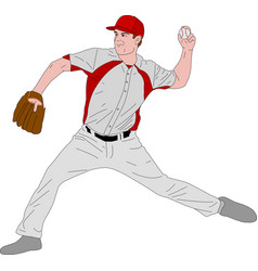 baseball pitcher detailed vector image