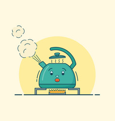 Boiling kettle character in flat design vector