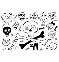bones and skulls hand drawn elements for halloween vector image