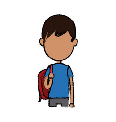 boy cartoon student young character with backpack vector image