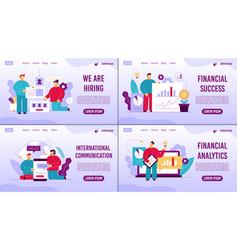 Business management ecommerce landing pages set vector