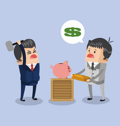 Businessman broken piggy savings vector