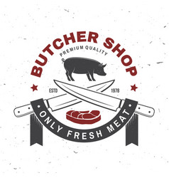 butcher meat shop badge or label with pig pork vector image