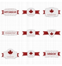 Canada day patriotic labels set vector
