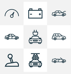 Car icons line style set with cabriolet crossover vector