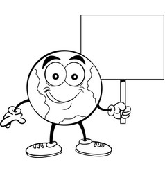 Cartoon earth smiling while holding a sign vector