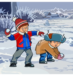 cartoon two boys playing snowballs in winter vector image