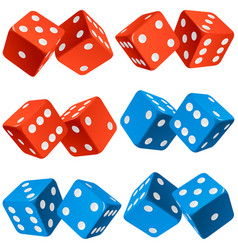 casino dice set of authentic icons red and blue vector image