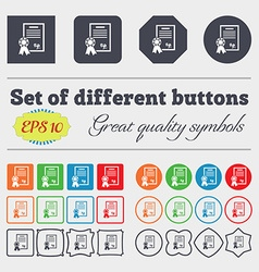 Certificate diploma icon sign Big set of colorful vector image
