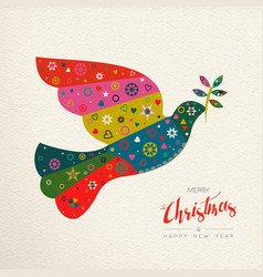 Christmas and new year colorful bird greeting card vector