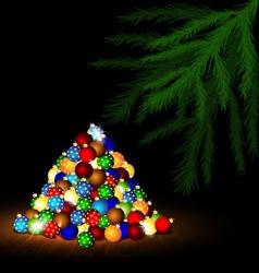Christmas ball and branch of tree vector image