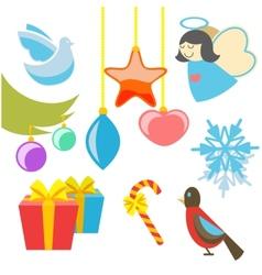 Christmas retro icons elements vector