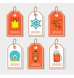 Christmas stickers set with flat icons vector image