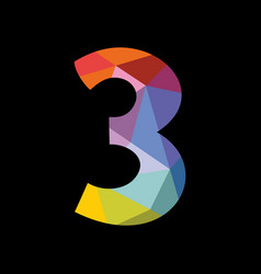 Colorful number 3 isolated on black background vector