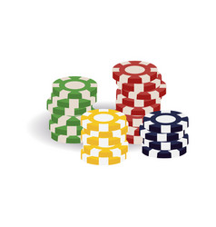 Colorful realistic casino gaming tokens in piles vector
