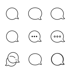 Contour talk bubble comment and message logo icons vector