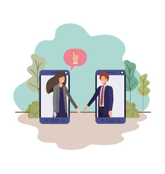 couple business in smartphone with speech vector image