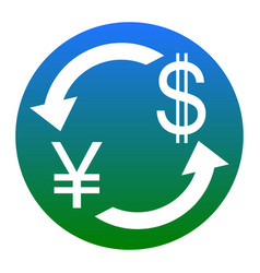 currency exchange sign japan yen and us dollar vector image
