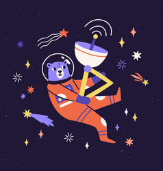 Cute bear astronaut in space suit flying in cosmos vector